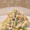 Gigli con ricotta, kiwi, lima e pepe. (Flores con requesón, kiwi, lima y pimienta)