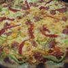 Pizza di grano Arso con salsiccia (Pizza de trigo Arso con  salchicha)